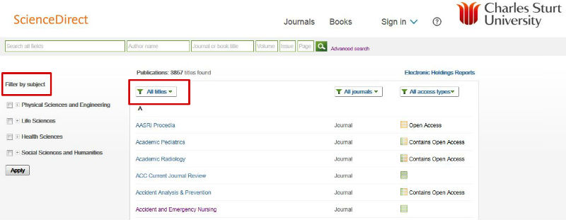 screen sample of the ScienceDirect website with the 'filter by subject' and 'all titles' options highlighted