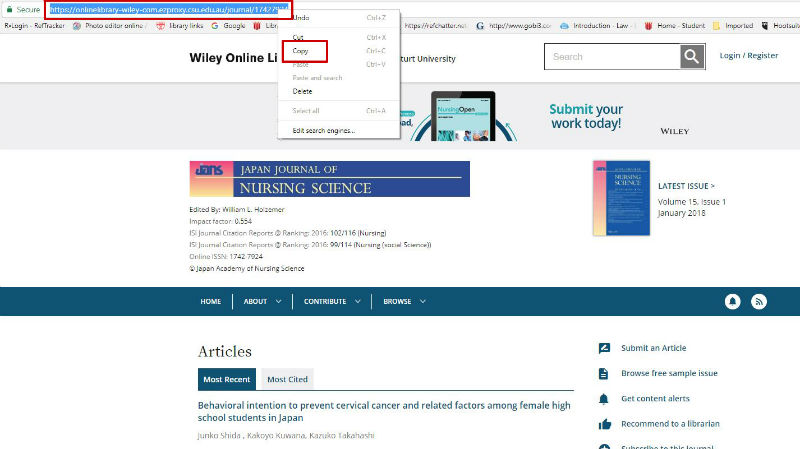 screen sample of the Wiley website with the URL highlighted in the address bar
