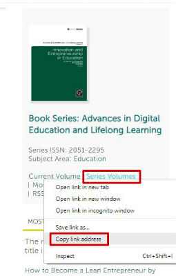 Screen sample of the Emerald eBooks website with the 'Copy link location' link highlighted, visible with right click of mouse on the 'Series volumes' link