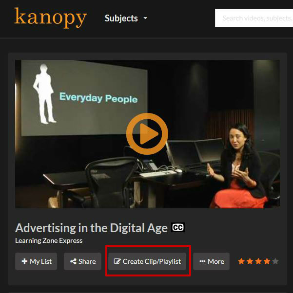 screen sample of the Kanopy website with the Create clip/playlist link highlighted