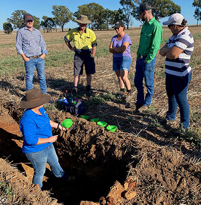 Dr Cassandra Schefe in the soil pit at a Riverine Plains Field Day