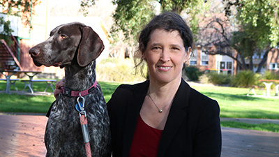 Dr Victoria Bookes and her dog