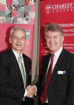 CSU's Vice Chancellor Professor Ian Goulter (left) and CIT's Dr Colin Adrain.