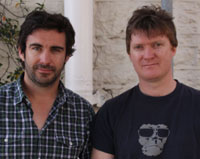 CSU graduates Mr Trent O'Donnell and Mr Phil Lloyd who won a 2009 Australian Writers' Guild award for their TV show 'Review with Myles Barlow'