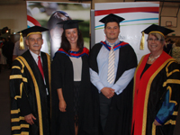 Ms Alexandra Clancy and Mr Jared Clancy with CSU Vice-Chancellor Professor Ian Goulter and the Deputy Chancellor Ms Kathryn Pitkin after their graduation ceremony.