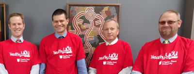 L to R: SGE's Mr Michael Coburn, CSU V-C Professor Andrew Vann, and SGE's Mr Michael Reid and Mr Gary Goldsmith.