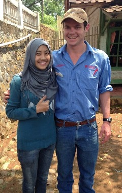 CSU student Mr Elliott O'Farrell with an Indonesian student in Cimaung village photo courtesy Mr Elliott O'Farrell