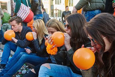 Laughing gas orange balloons