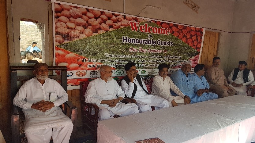 Pulses seminar and meeting with all the participating farmers at project site 5, Larkana, Sindh province