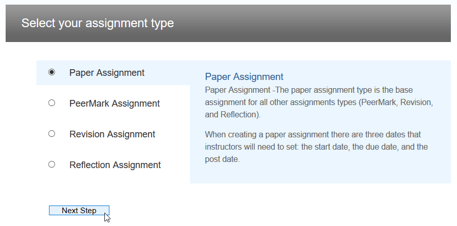 Select assignment type