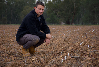 Jordan Bathgate inspecting newly planted trials at the AGT site