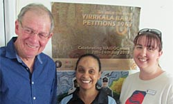 From left: CSU's Professor Bob Perry with Ms Karen George (Lawson Street Youth Centre) and Ms Jess Townsend (The Smith Family, Pilbara) in Port Hedland.