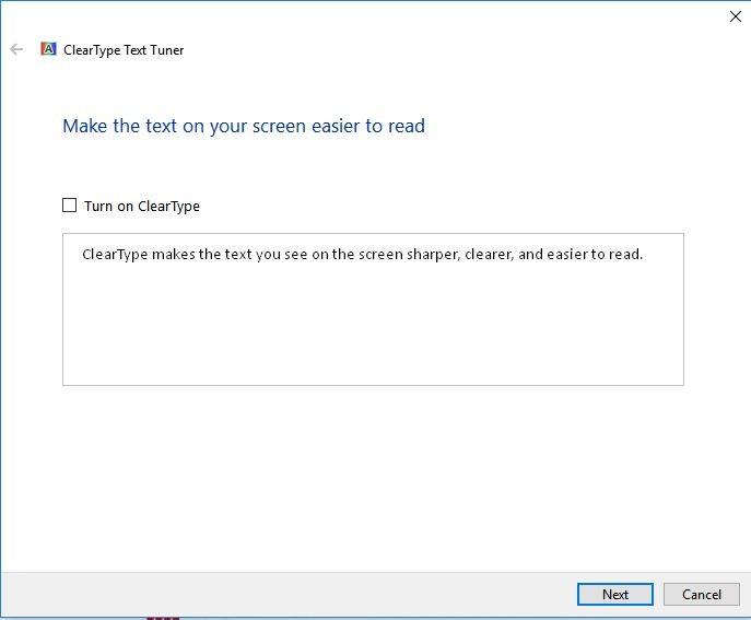 Screenshot displaying the turn on clear type text tick box