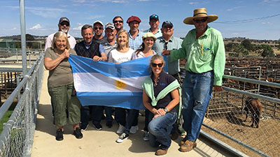 The delegation from Argentina at the saleyards