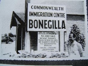 Archive photo of original welcome signange