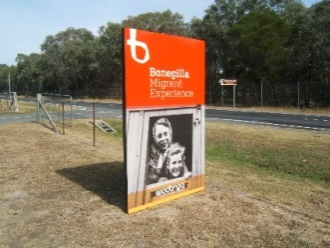 Modern memorial signage at Bonegilla