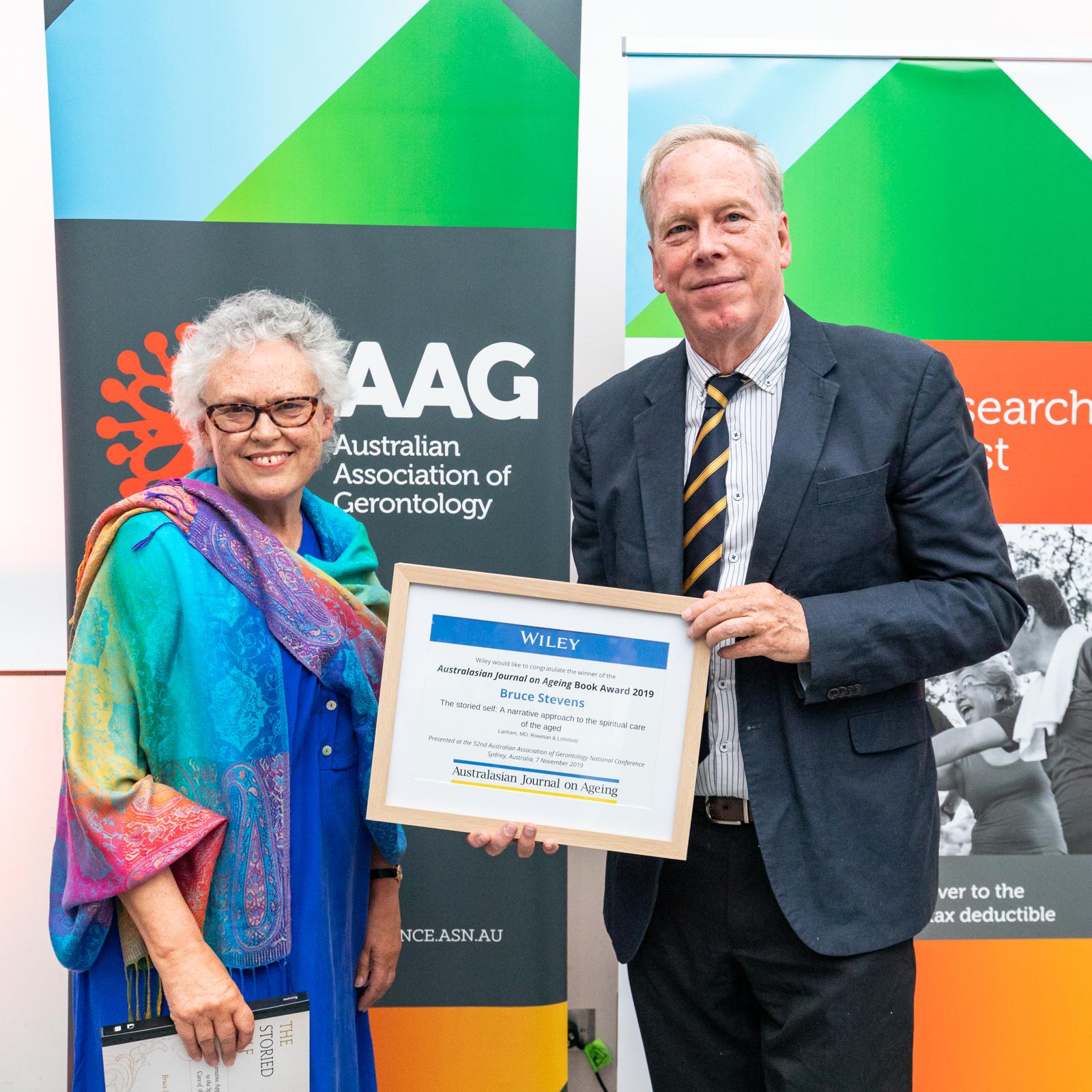 Professor Yvonne Wells from AJA with Professor Bruce Stevens