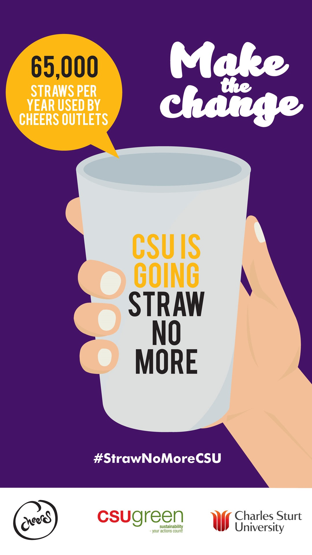 65,000 plastic straws every year were used by CSU before we launched the Straw No More campaign