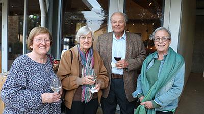 Marion Pratley, Helen Willett and former Charles Sturt Chancellor Lawrie Willett 'Currawang' near Goulburn, Professor Deirdre Lemerle