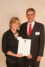 Emma Pallet and Mr Robert O'Reilly at the 2005 Charles Sturt Foundation Scholarship Ceremony