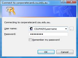 Screen grab of Promaster Login Box showing Username and Password fields