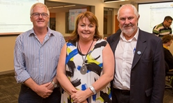 Photo of CSU Executive Dean of Science Professor Tim Wess, Family and Community Services Ms Donna Argus and Wagga Mayor Cr Rod Kendall