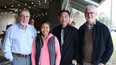 : Dr John Angus, Stockinbingal, PhD student Jhoana Opena, Dr Hanwen Wu NSW DPI, Dr Andrew Sanger Director Invasive Plants and Animals NSW DPI and Chairman of the Graham Centre Board